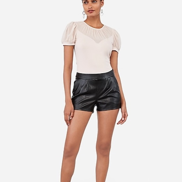 Express Pants - Express vegan leather, mid-rise pleated shorts